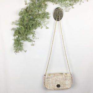 Zara Woman Tweed & Gold Hardware Crossbody Bag 🌿